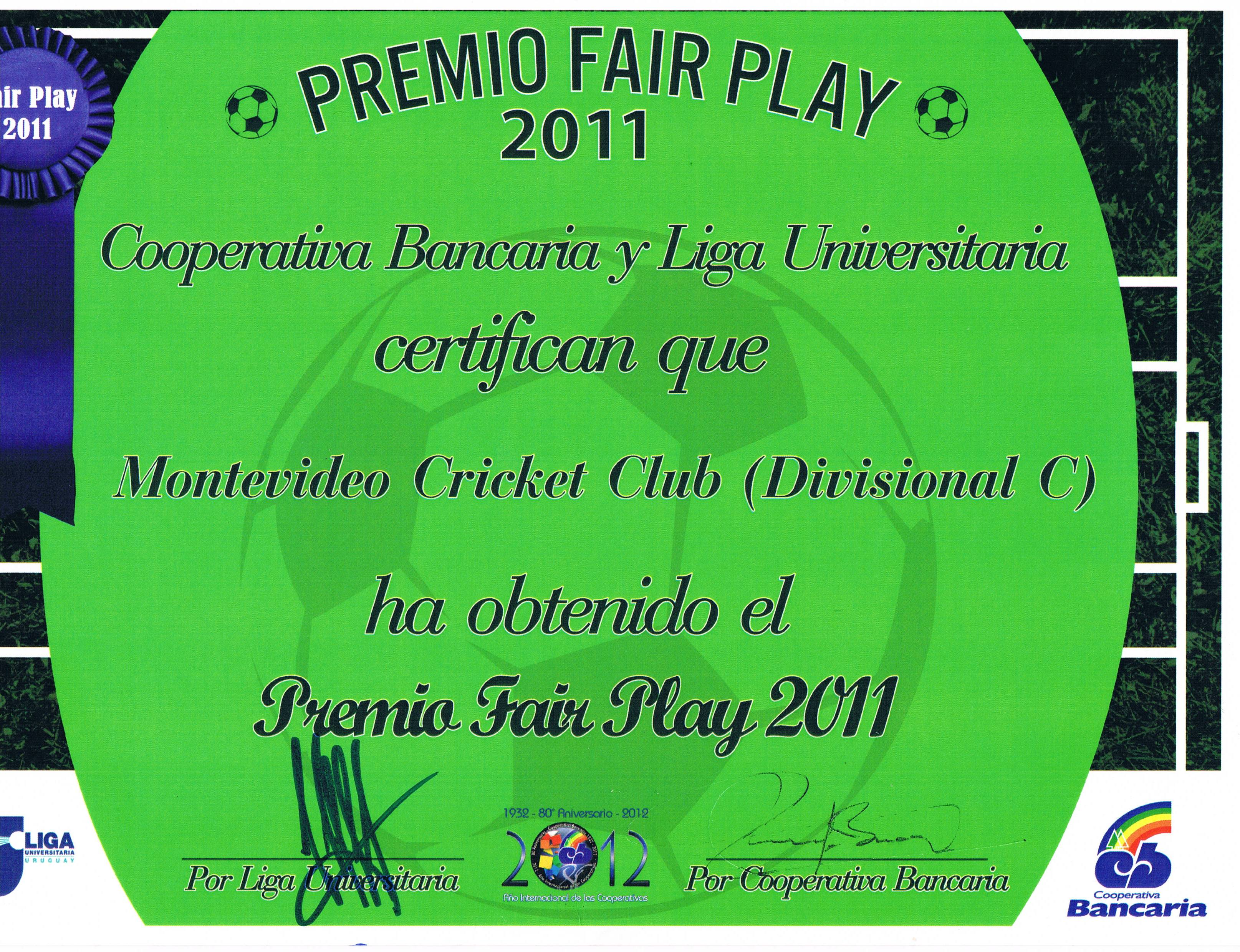 ENTREGA PREMIO FAIR PLAY 2011