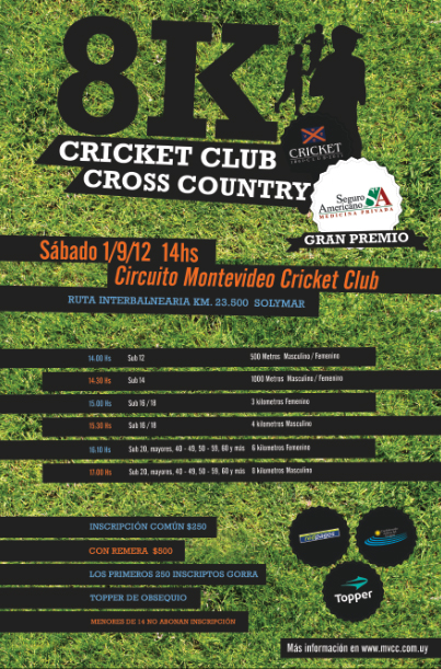 Pasos para inscribirse para los 8K Cricket Cross Country